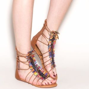 Shoes - Woven Tribal Lace Up Sandal